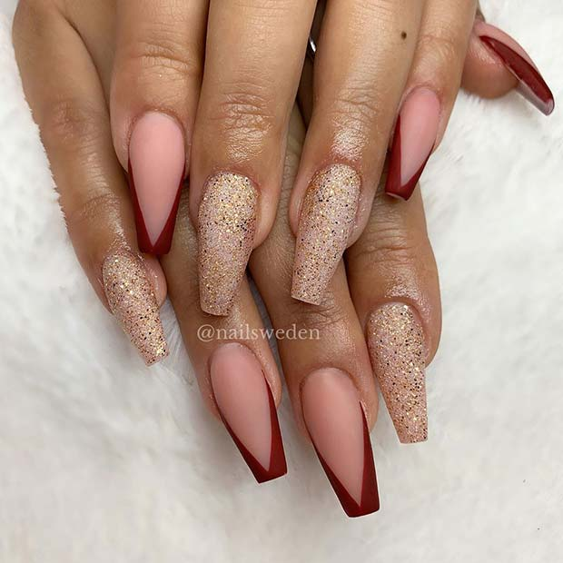 Nude Nails with Red Tips and Glitter Accent Nails