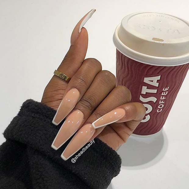 Nude Nails with White Nail Art