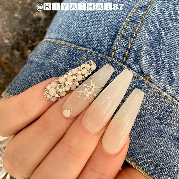 Nude Nails with a Rhinestone Accent Nail