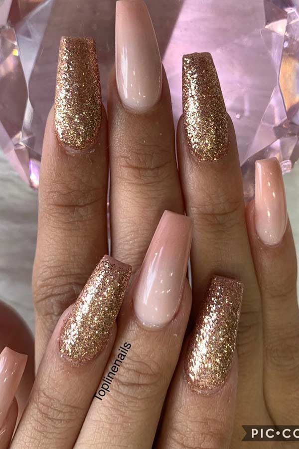 Nude Ombre and Gold Glitter Nails