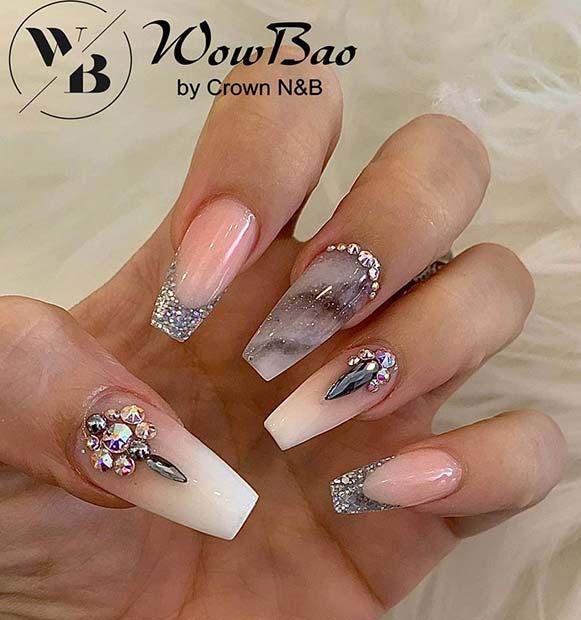 Elegant Marble Coffin Nails