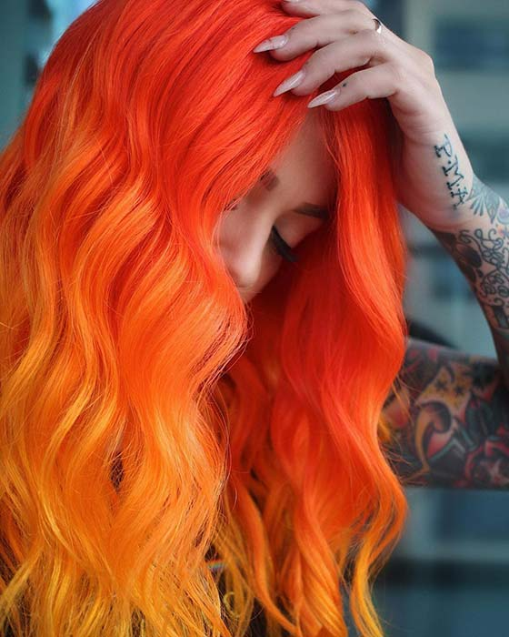 Neon Orange Hair Color Blend