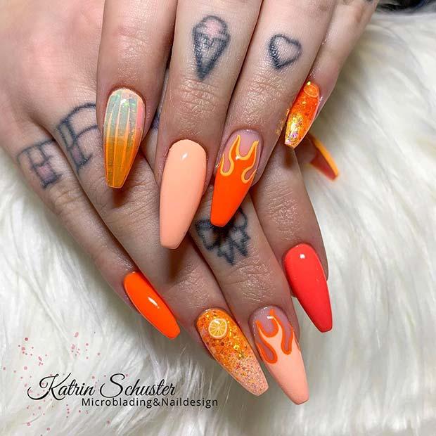 Orange Flame Nail Art