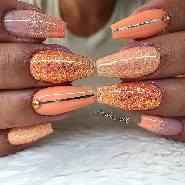 Orange Glitter Nail Design