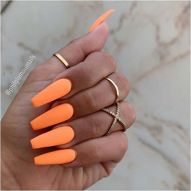 Orange Matte Coffin Nails