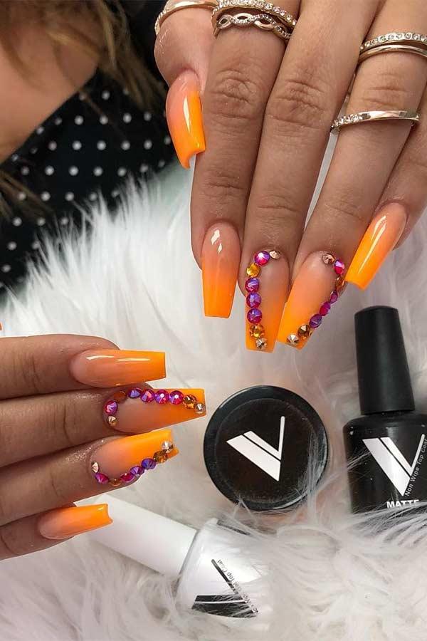 Orange Nails with Rhinestones
