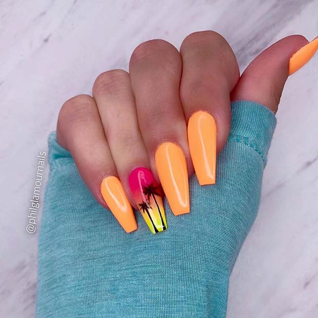 Orange Nails with Tropical Palm Trees