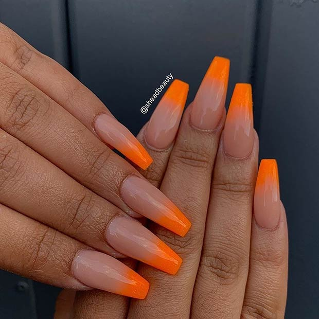 Orange and Nude Ombre Nails