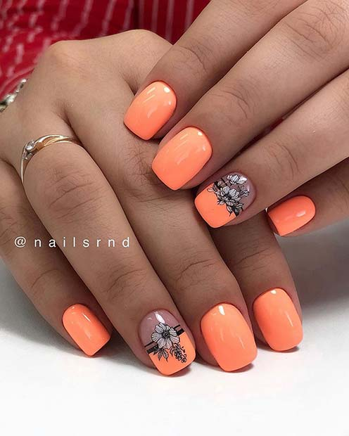 Pastel Orange Nails with Flowers
