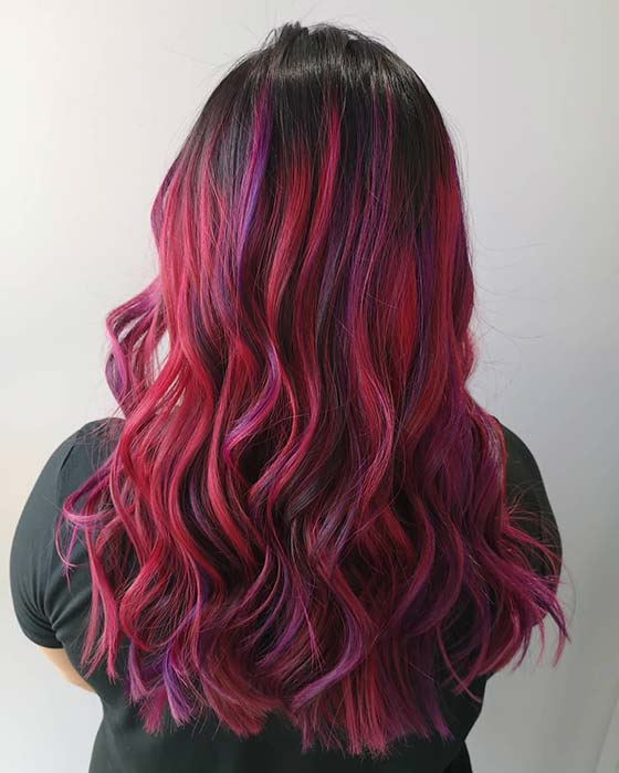 Pink, Purple and Red Highlights for Black Hair