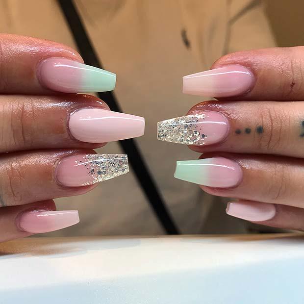 Pretty Coffin Nails with Glitter