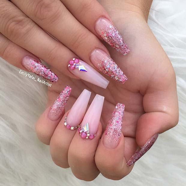 Pretty Pink Nails with Sparkle