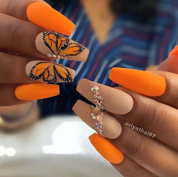Pretty Orange Nails