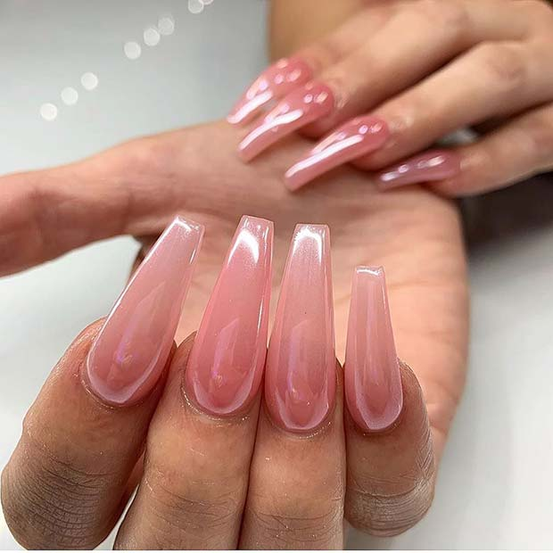 Pretty Pink Chrome Nails