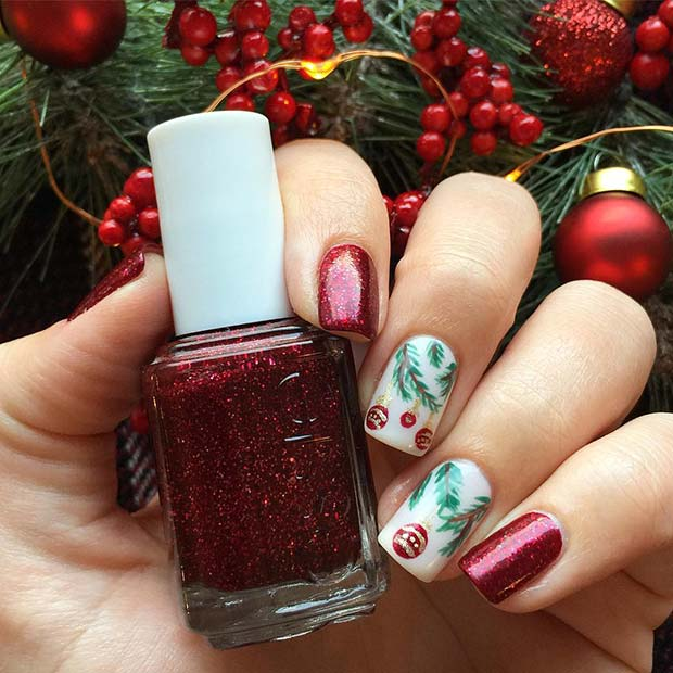Red Glitter Nails with Christmas Baubles