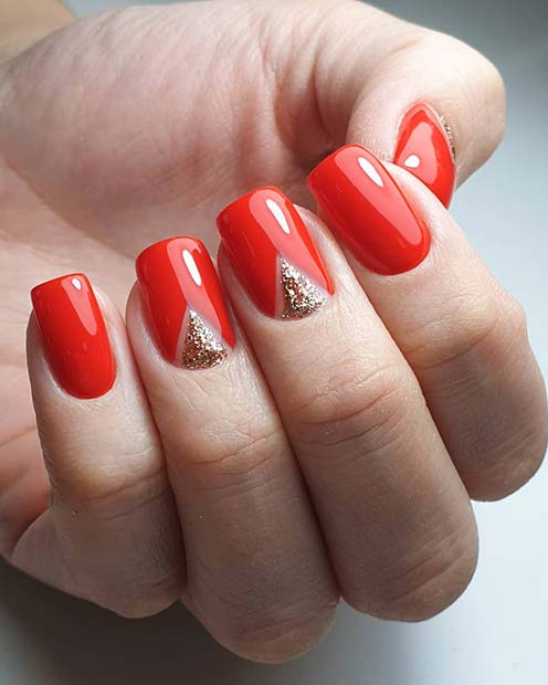 Red Nails with Glittery Nail Art