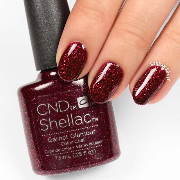 Red Sparkly Shellac Nails