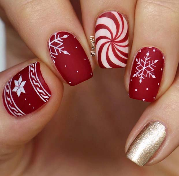 Red, White and Gold Nails with Festive Art