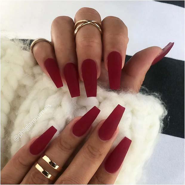 Red Wine Matte Nails
