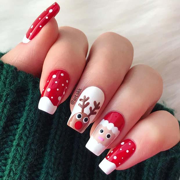 Santa, Reindeer and Snow Nail Design