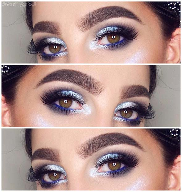 Silver and Blue Eye Makeup