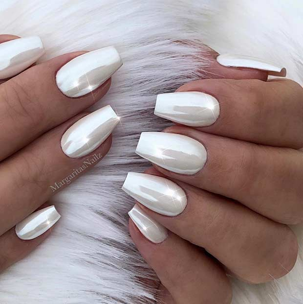 Simple White Chrome Nail Design