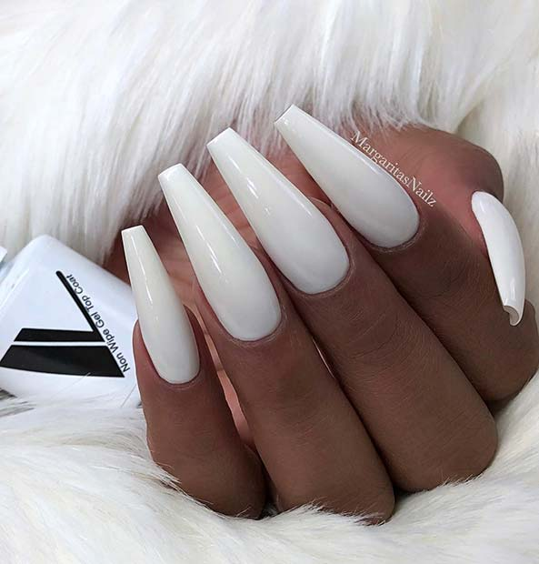 Simple White Coffin Nails