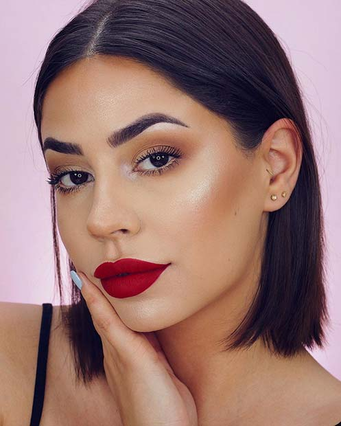 Soft Eye Makeup with Bold Red Lip Color