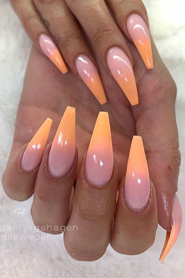Soft Orange Ombre Nails