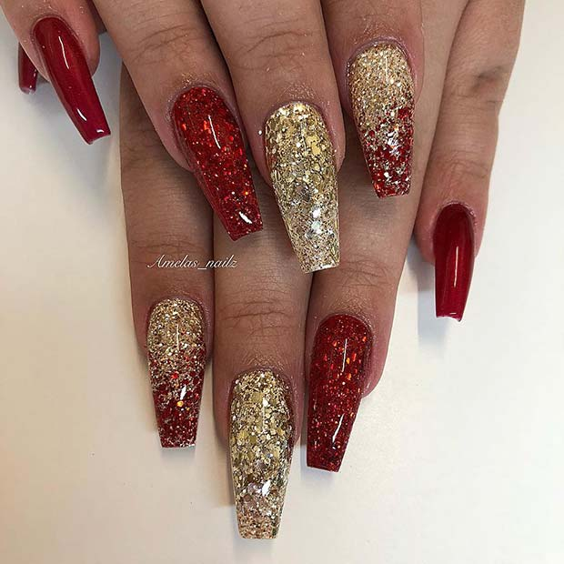 Sparkly Red and Gold Christmas Nails