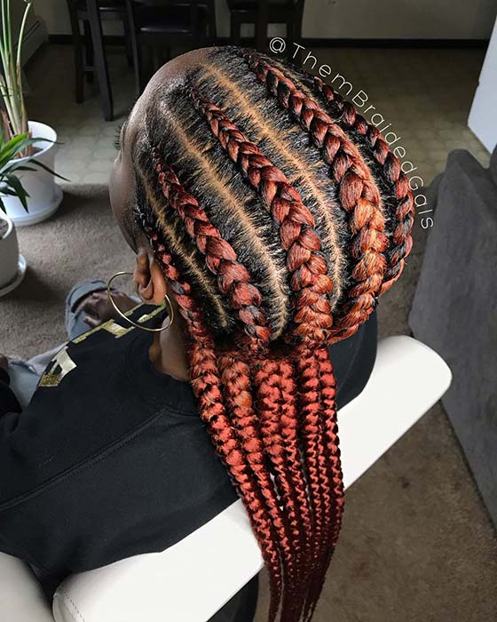 Spicy Red Cornrow Braids