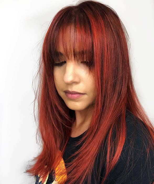 Spicy Red Hair with Bangs