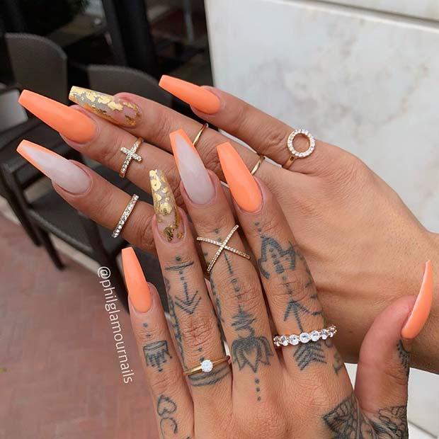 Statement Making Light Orange Nail Design