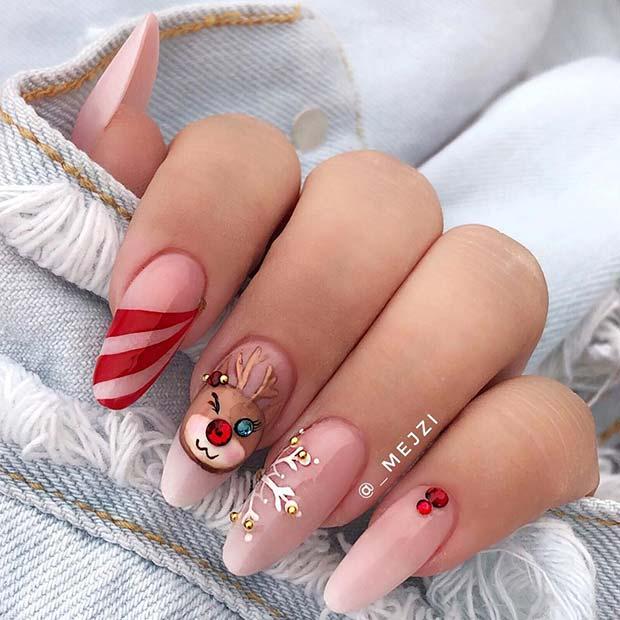 Cute Reindeer Nails