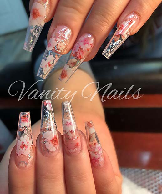 Stunning Clear Nails with Flowers