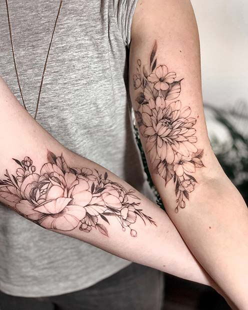Stunning Floral Tattoo Idea for Sisters