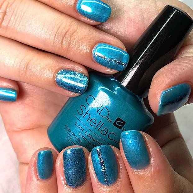 Stylish Blue Nails with Sparkle