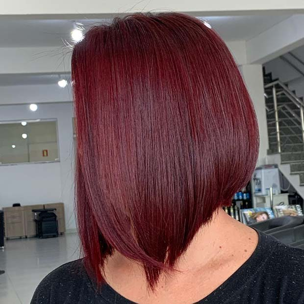 Stylish Dark Red Hair Inverted Bob