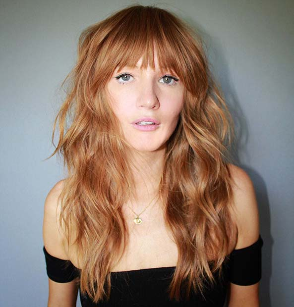 Stylish Ginger Hairstyle with Bangs