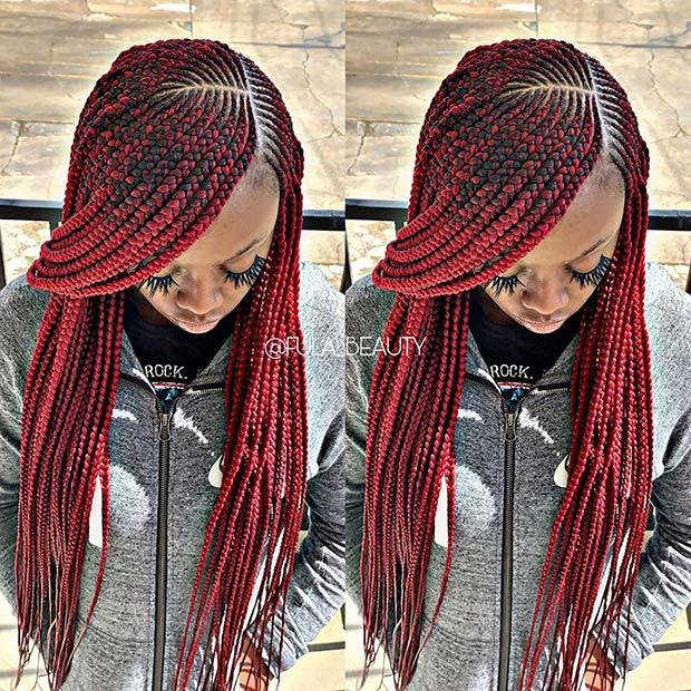 Stylish Red Feed In Braids