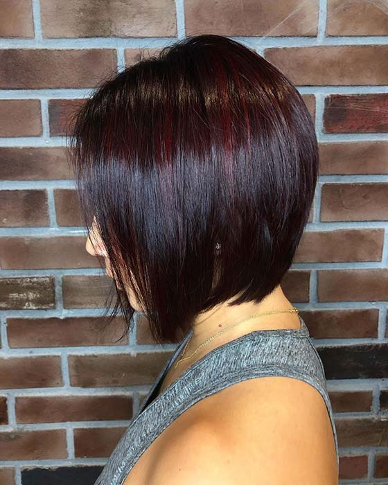 Subtle Dark Red Highlights with a Bob
