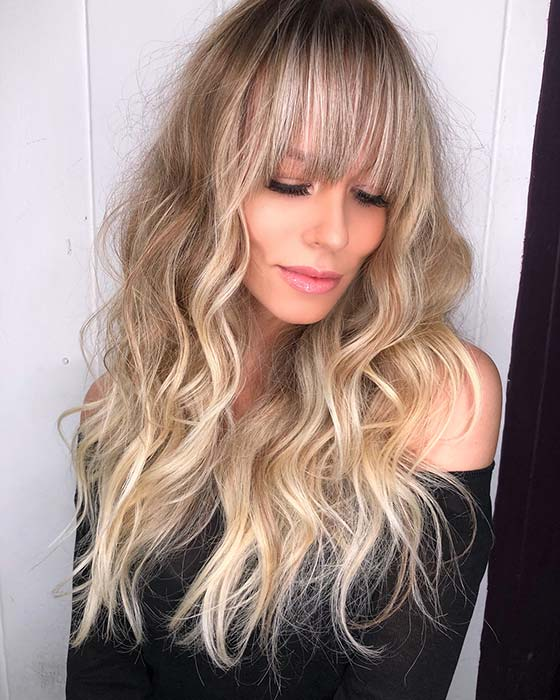 Sun-kissed Blonde Hair With Long Bangs
