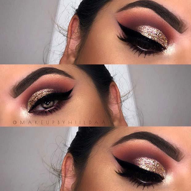 Gold Glitter Eye Makeup Idea