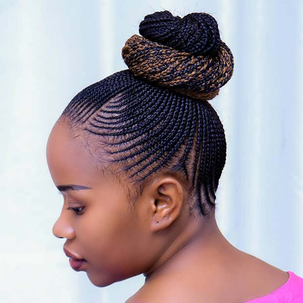 Thin Cornrow Braid Bun