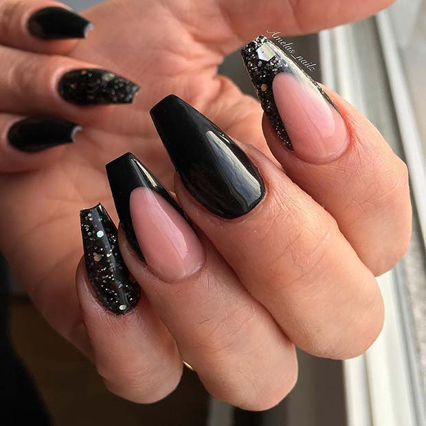 Black Coffin Nails with Glitter