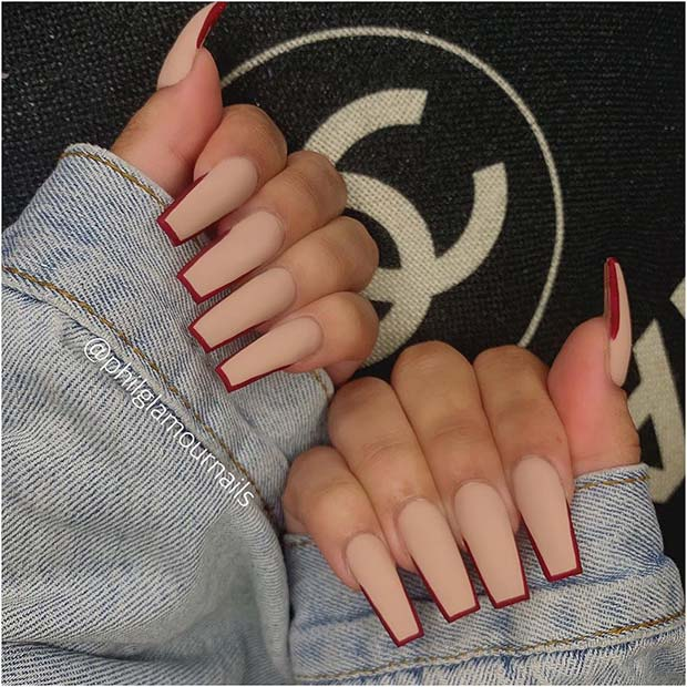 Trendy Nude Nails with Red Tips
