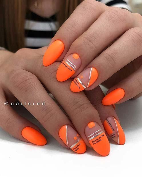 Trendy Orange Almond Nails