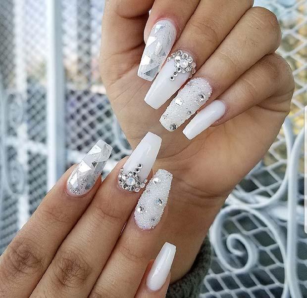 Trendy White Coffin Nail Design