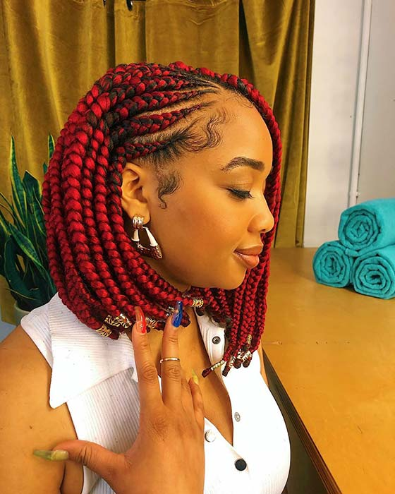 Vibrant Red Cornrow Braids