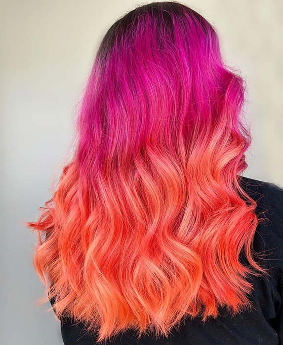 Pink to Orange Ombre Hair